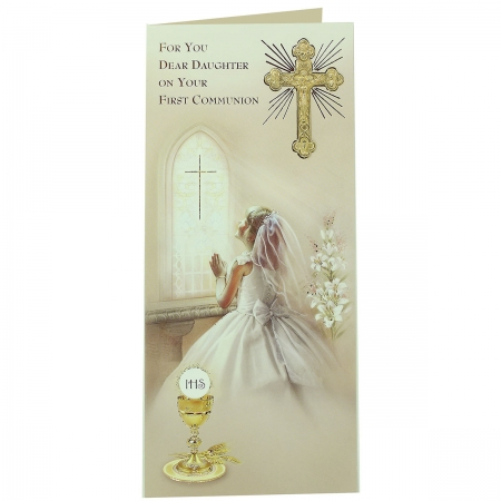 Dear Daughter On Your First Communion Keepsake Card