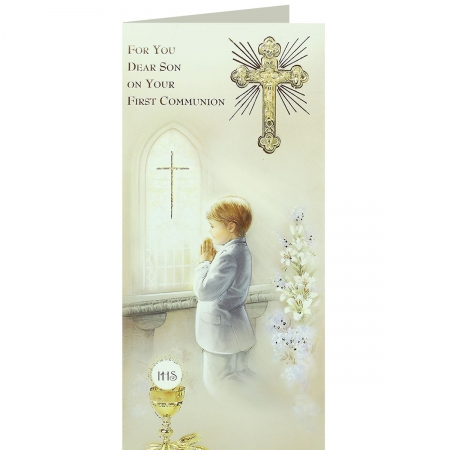 For You Dear Son On Your First Communion Keepsake Card