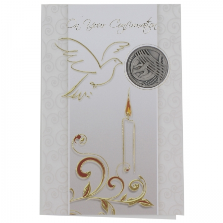 Confirmation Card With Dove Symbol Metal Pocket Token