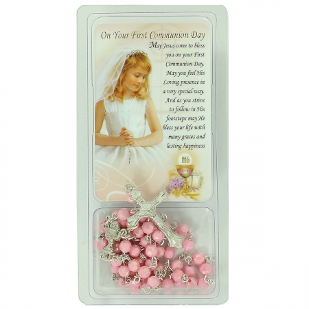 Pink Rosary And Token Card First Holy Communion Gift