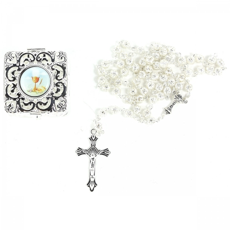 Beautiful First Communion Gift Silver Rosary In A Filigree Box