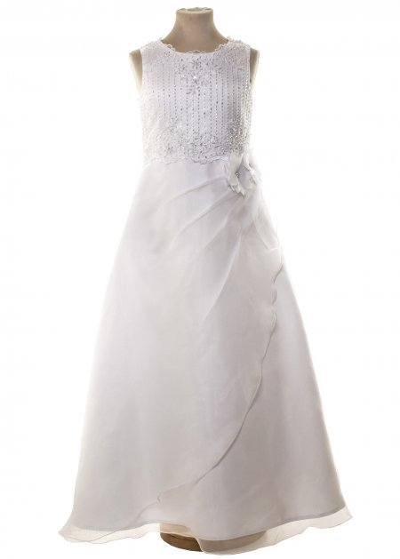 First Holy Communion White Dress With Beads On Chest