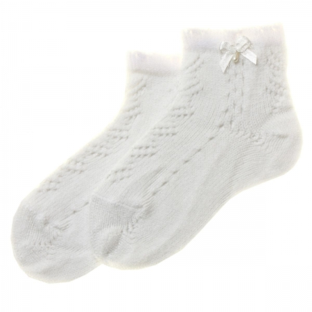 High Quality Spanish Baby Girls White Socks