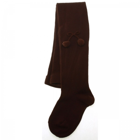 Baby girls and little girls pom pom tights in plain dark brown