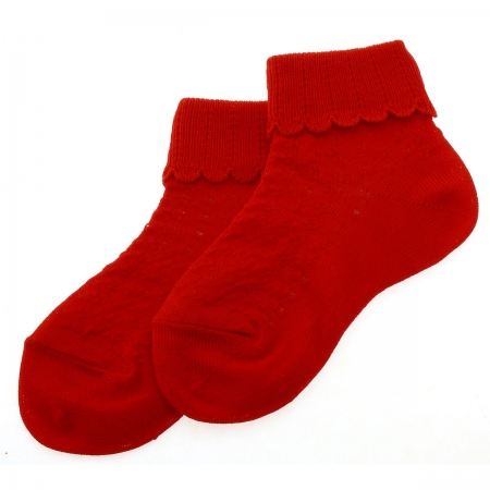 Cotton Rich Scallop Pattern Childrens Red Socks