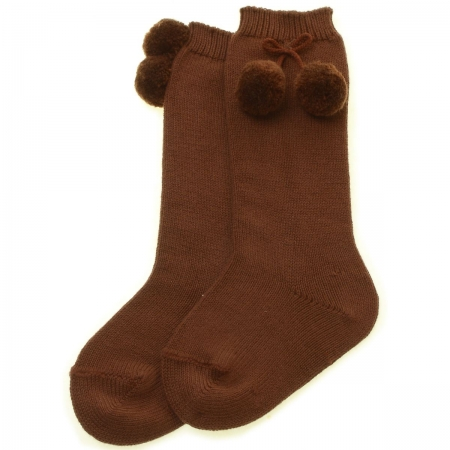 Knee High Pom Pom Socks Chocolate Brown Colour