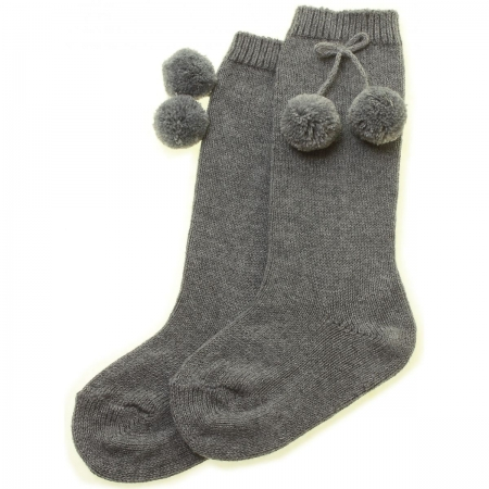 Knee High Pom Pom Grey Socks
