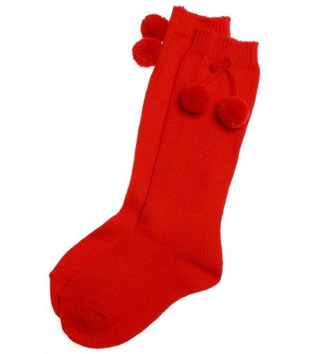Knee High Red Pom Pom Socks Cachet Kids