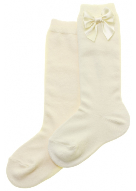 Knee High Ivory Socks With Bows