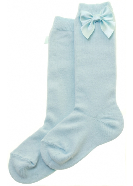 Blue Knee High Socks With Bows