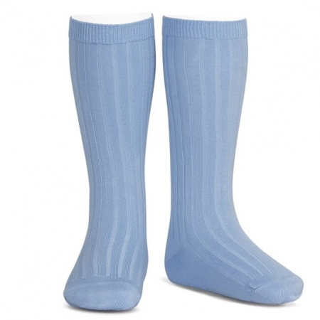 Azure Blue Boys And Girls Knee High Ribbed Spanish Socks By Condor