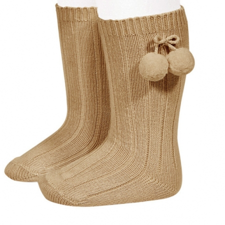 Condor Caramel Brown Knee High Pom Pom Ribbed Socks