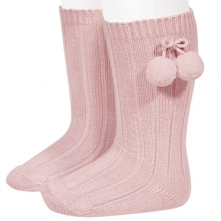 Condor Baby Girls Knee High Pom Pom Ribbed Pink Socks