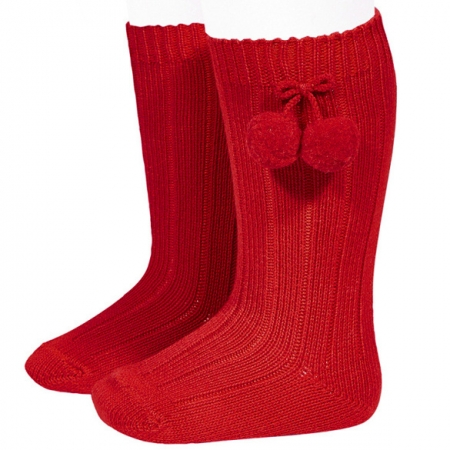 Condor Knee High Red Pom Pom Ribbed Socks