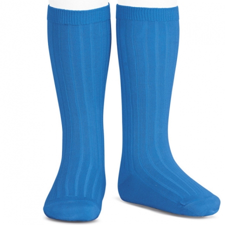 Royal Blue Knee High Ribbed Socks For Boys And Girls Spanish Socks From Condor