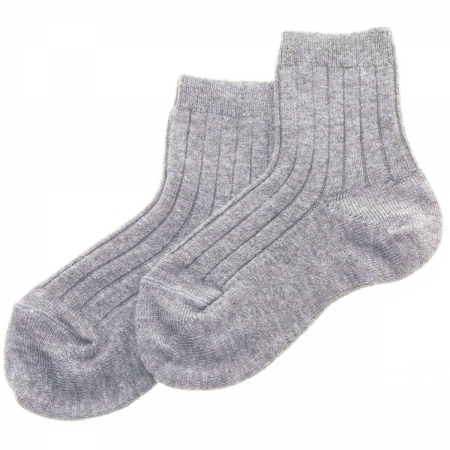 Baby Boys Light Grey Or Ice Grey Ribbed Ankle Dress Socks
