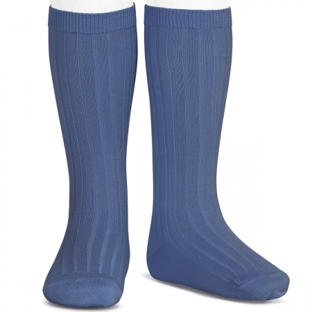 French Blue Knee High Ribbed Socks For Boys And Girls Spanish Socks  By Condor