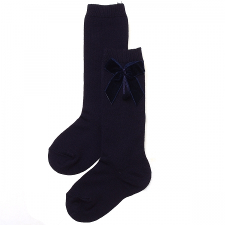 Girls Navy Knee High Velvet Bow Socks Spanish Socks