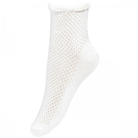 Girls Summer Dress Socks In White With Braided Pattern Trim