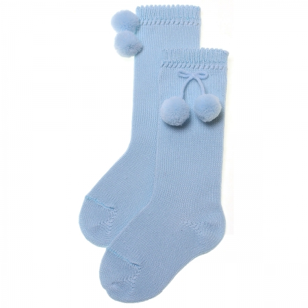 100% Cotton Baby Blue Knee High Pom Pom Socks For Spring Summer
