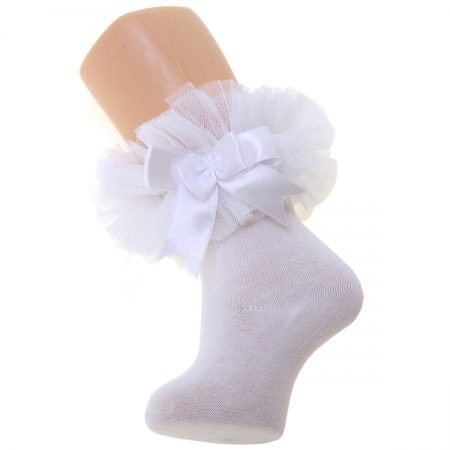Baby Girls White Lace Tutu Bow Socks