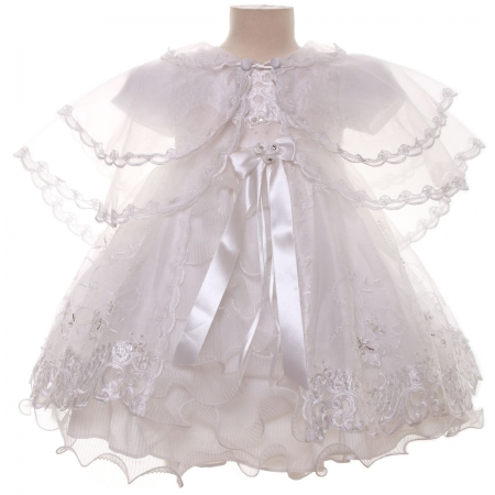 Elaborately Embroidered Girls Christening Dress with Bonnet and Ponch