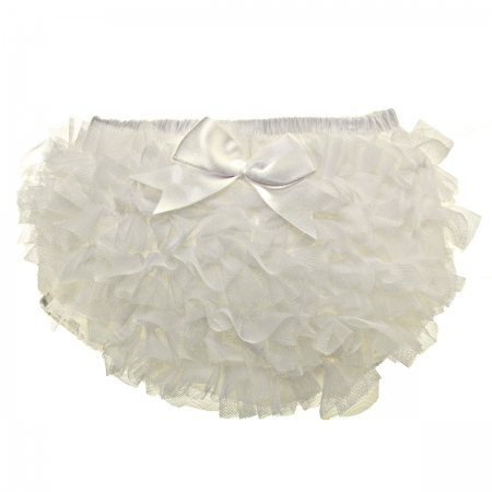 Tutu Baby Girls Frilly Ivory Knickers With Bow