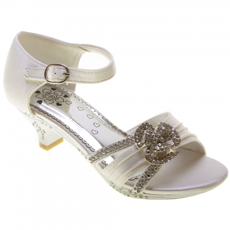 Girls White Party Shoes Flower Diamantes
