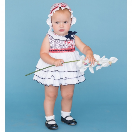 Sale Dolce Petit Baby Girls White Navy Ruffle Dress With Bonnet Set
