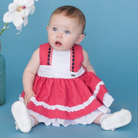 Sale Dolce Petit Baby Girls Red White Dress With Bonnet