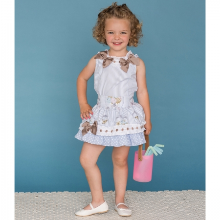 Dolce Petit Girls Blue Stripes White Lace Caramel Bows Top And Skirt Set