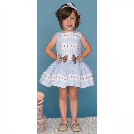 Dolce Petit Girls Blue White Polka Dots Dress White Lace Caramel Bows