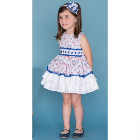 Dolce Petit Girls White Blue Red Floral Dress Blue LaceCaramel Bows Dress