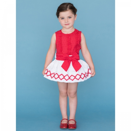 Sale Dolce Petit Girls Red Frilly Top White Skirt Outfit