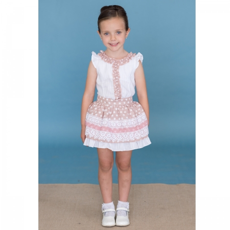 Sale Dolce Petit Girls White Blush Pink Top And Polka Dots Lace Skirt Set