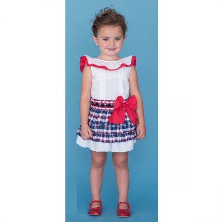Dolce Petit Girls White Top Red Frill Navy Checks Skirt Set