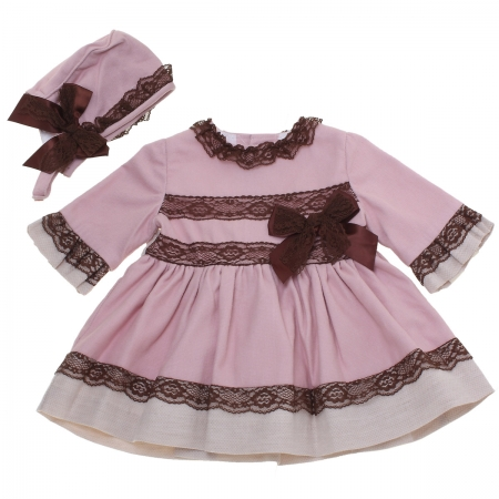 Dolce Petit Baby Girls Pink Dress Brown Lace With Bonnet