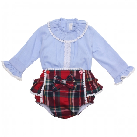 Dolce Petit Baby Girls Blue Blouse Red Tartan Outfit White Scallop Frills