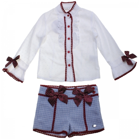Dolce Petit Girls White Blouse Blue Shorts Burgundy Bows Outfit