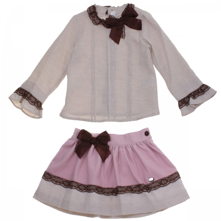 Dolce Petit Girls Light Caramel Tan Top Dusky Pink Skirt Set