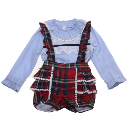 Dolce Petit Girls Blue Top White Lace Red Tartan Braces Shorts Set