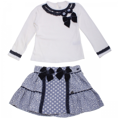 Dolce Petit Girls Ivory Top Blue Floral Skirt Set Navy Bows