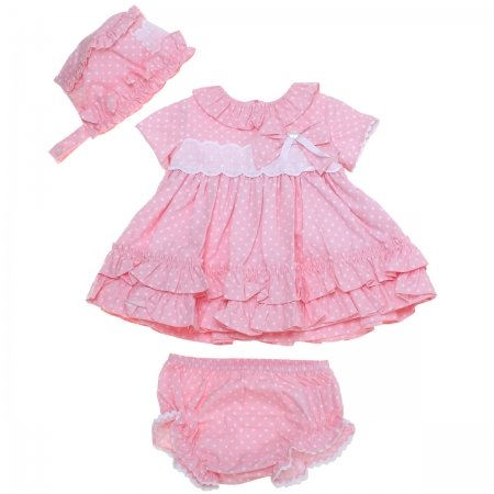 Dolce Petit Spring Summer Baby Girls Pink Dress White Polka Dots Panty Bonnet Set
