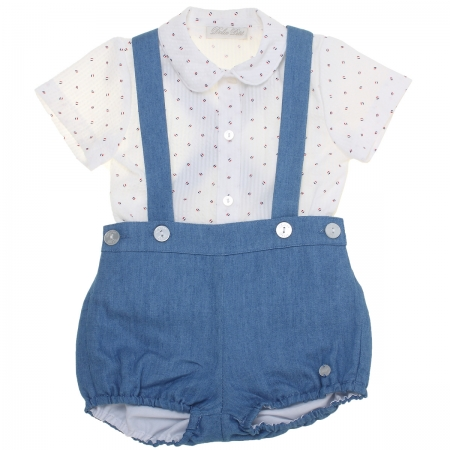 Dolce Petit 2018 Spring Summer Baby Boys White Shirt Navy Braces Shorts Set