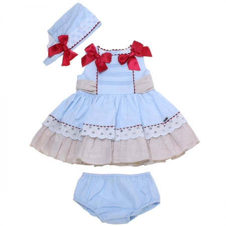Dolce Petit 2018 Spring Summer Baby Girls Blue Tan Dress Panty Bonnet Set Red Bows