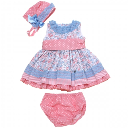 Dolce Petit 2018 Spring Summer Baby Girls Pink Floral Polka Dots Dress Blue Lace Panty Bonnet Set