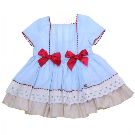 Dolce Petit 2018 Spring Summer Girls Blue Dress Red Bows Red Scallop Lace