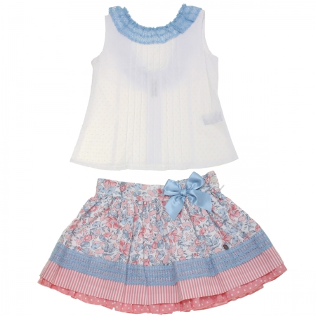 Dolce Petit 2018 Spring Summer Girls White Top Blue Lace Pink Floral Skirt Set