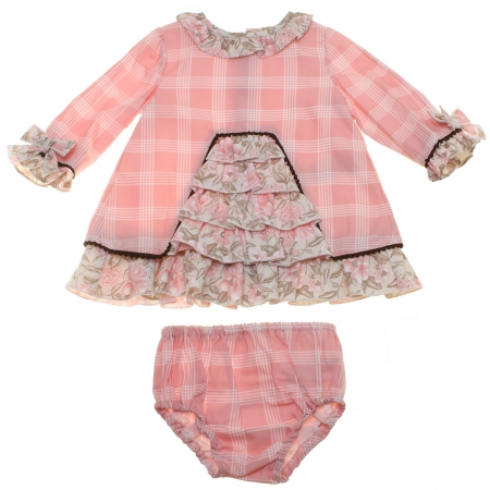 Dolce Petit Baby Girls Pink Check Dress Panty Set With Floral Pattern