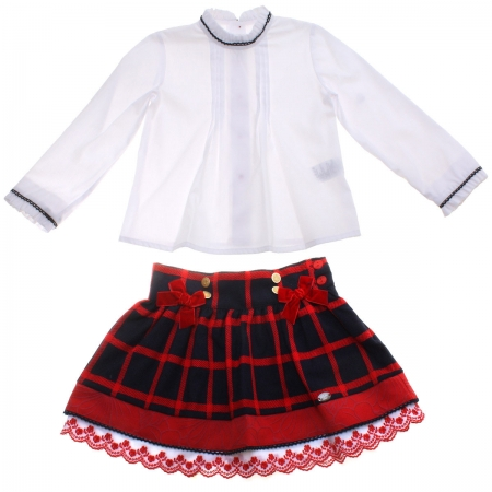 Dolce Petit Girls White Blouse Navy Red Checks Skirt Set 3 Years To 12 Years
